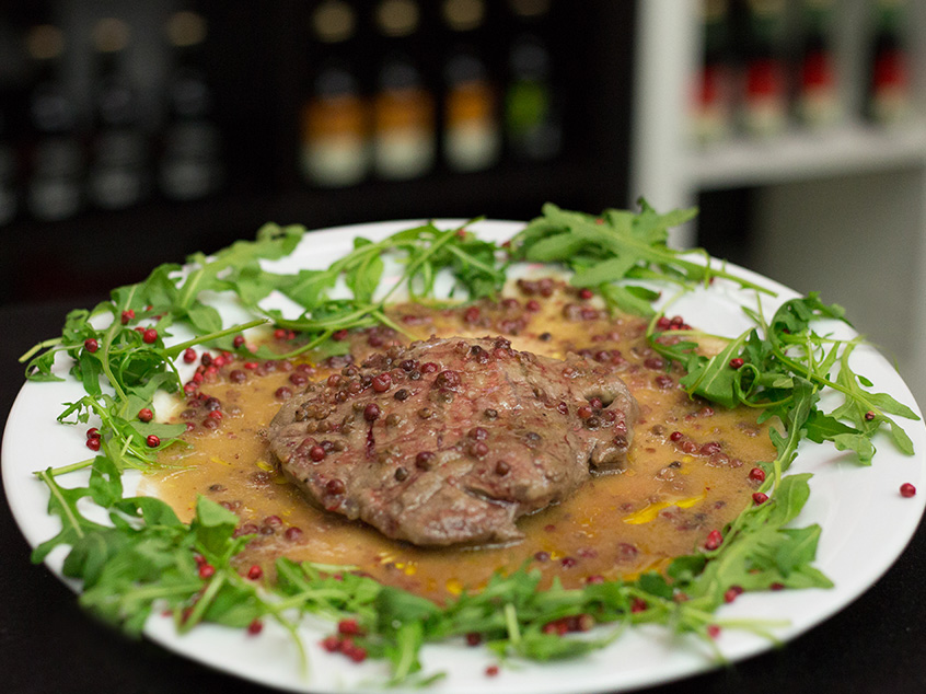 Steak with Peruvian (pink) pepper sauce, TMR Village - Guidonia